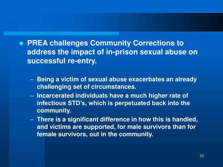 PREA challenges Community Corrections to address the impact of in-prison sexual abuse on successful re-entry.