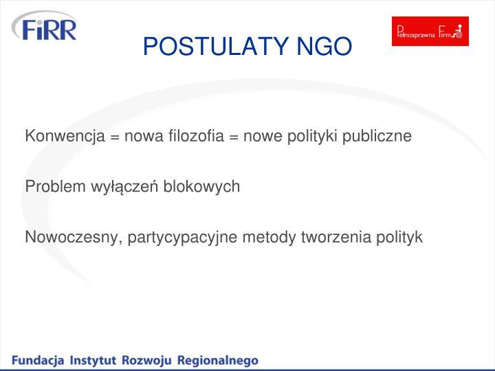 POSTULATY NGO