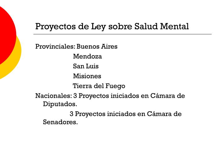Proyectos de Ley sobre Salud Mental