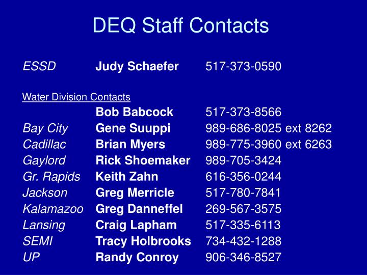 DEQ Staff Contacts