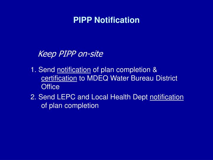 PIPP Notification