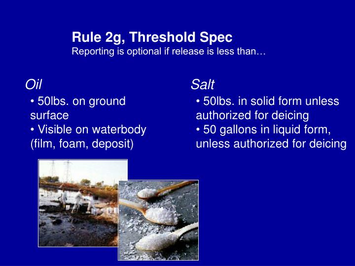Rule 2g, Threshold Spec