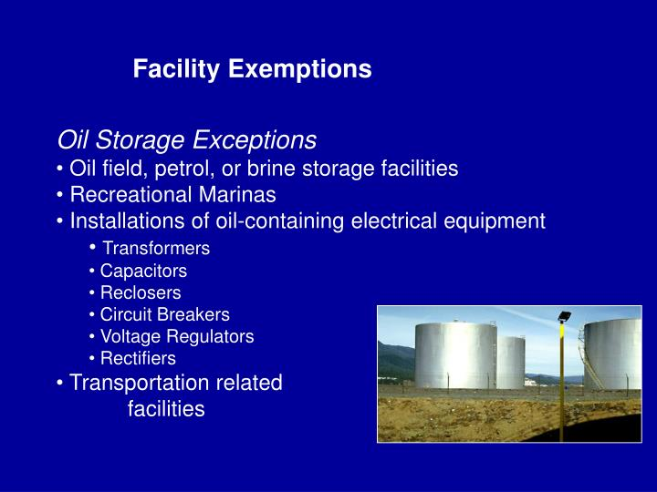 Facility Exemptions