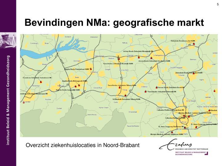 Bevindingen NMa: geografische markt