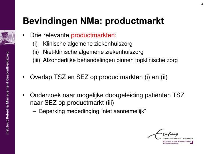 Bevindingen NMa: productmarkt