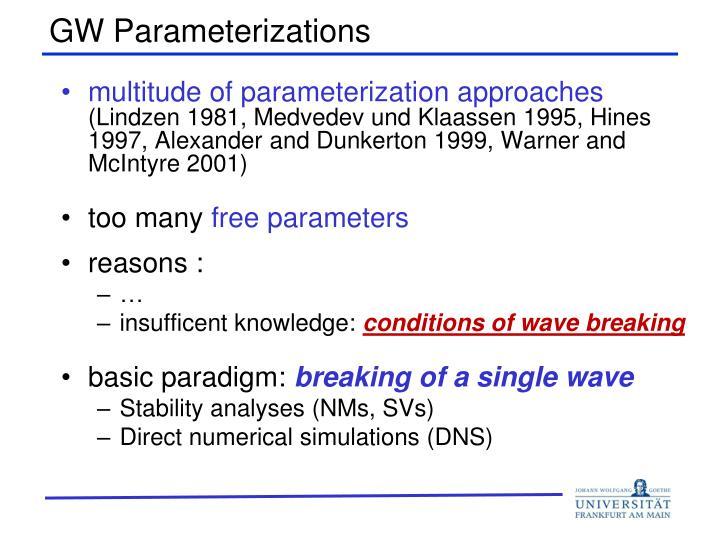 GW Parameterizations