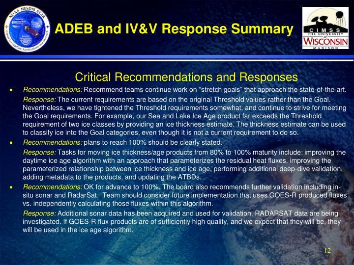 ADEB and IV&V Response Summary
