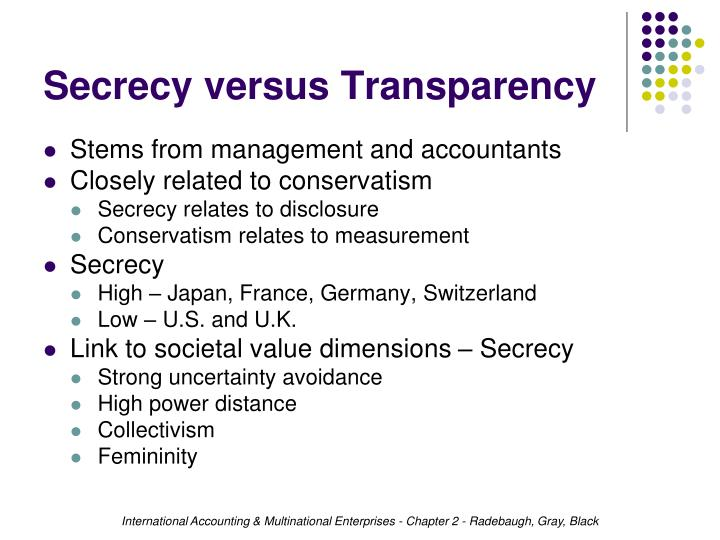 Secrecy versus Transparency