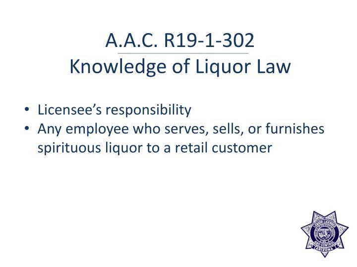 A.A.C. R19-1-302