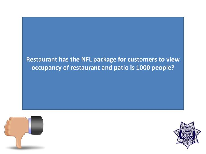 Restaurant has the NFL package for customers to view occupancy of restaurant and patio is 1000 people?