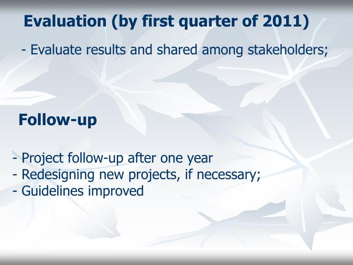 Evaluation (by first quarter of 2011)