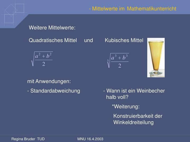 - Mittelwerte im Mathematikunterricht