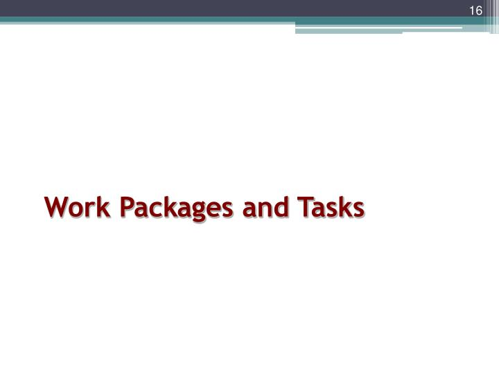 Work Packages and Tasks
