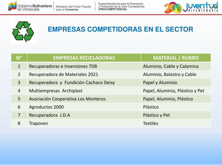 Empresas competidoras en el sector