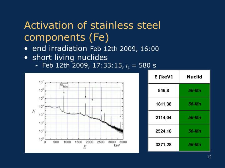 Activation of stainless steel components (Fe)