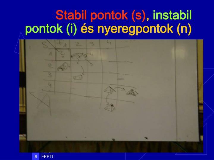 Stabil pontok (s)