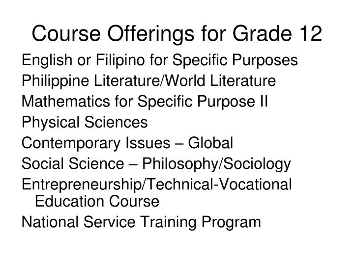 Course Offerings for Grade 12