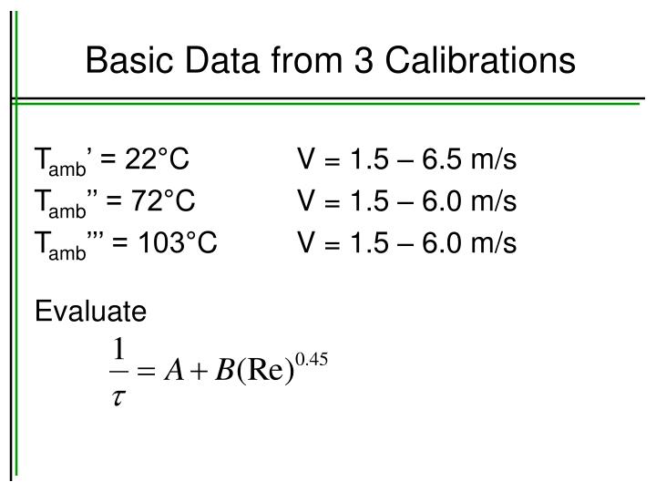 Basic Data from 3 Calibrations