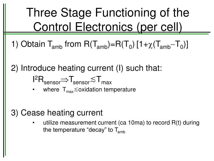 Three Stage Functioning of the Control Electronics (per cell)