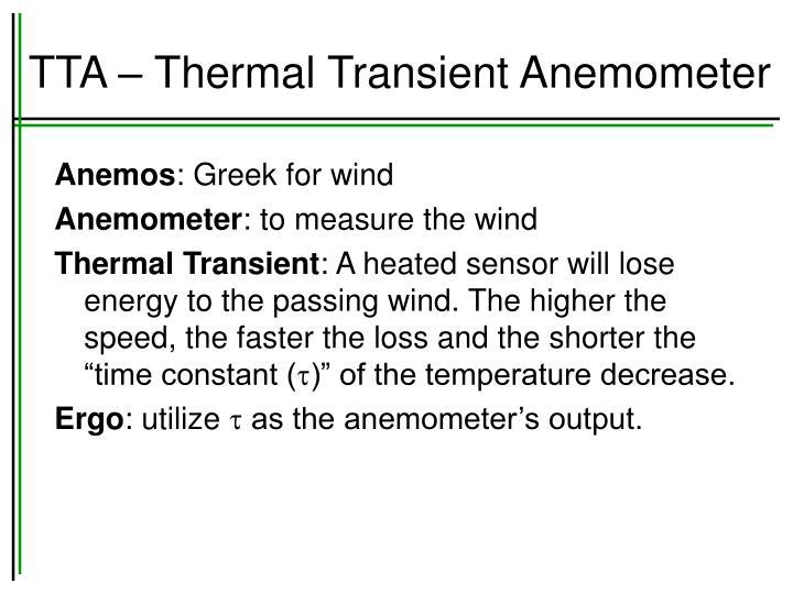 TTA – Thermal Transient Anemometer