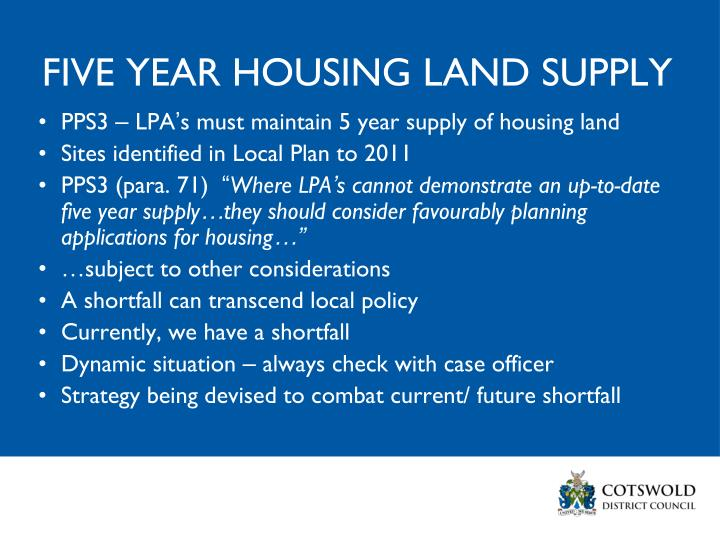FIVE YEAR HOUSING LAND SUPPLY
