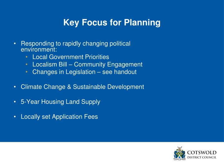 Key Focus for Planning