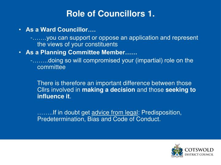 Role of Councillors 1.