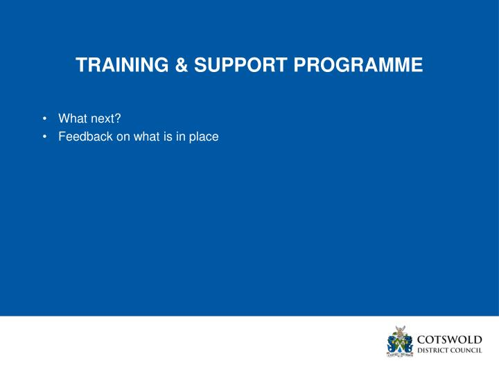 TRAINING & SUPPORT PROGRAMME