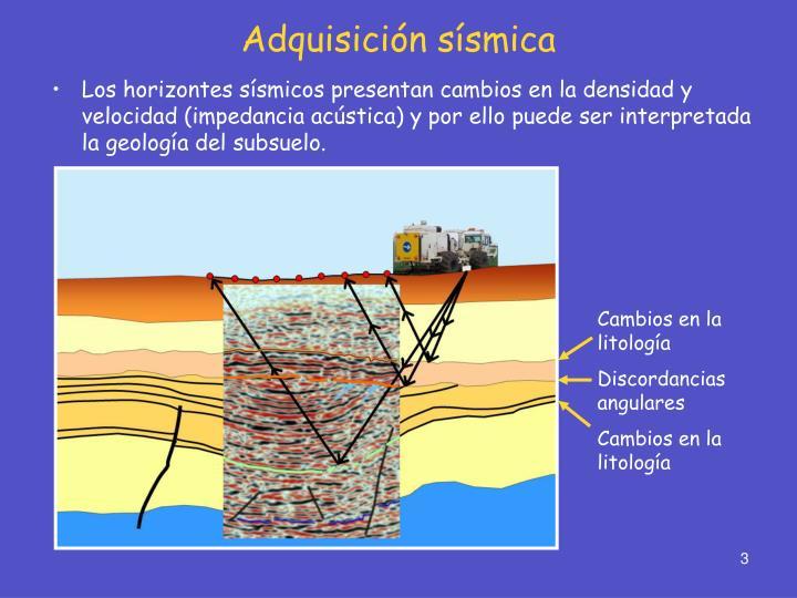Los horizontes sísmicos presentan cambios en la densidad y velocidad (impedancia acústica) y por ello puede ser interpretada la geología del subsuelo.