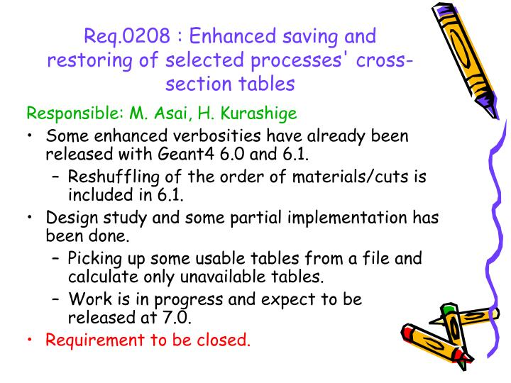 Req.0208 : Enhanced saving and restoring of selected processes' cross-section tables