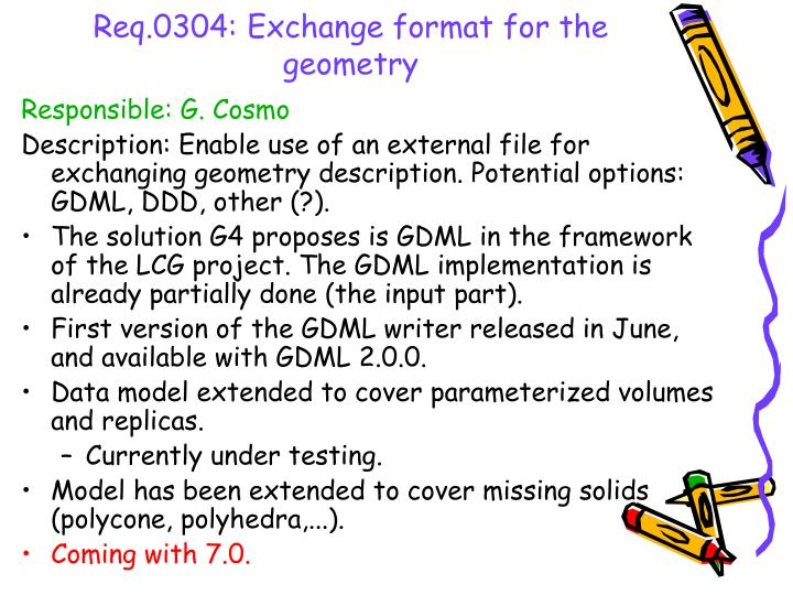 Req.0304: Exchange format for the geometry