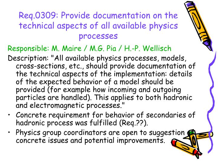 Req.0309: Provide documentation on the technical aspects of all available physics processes