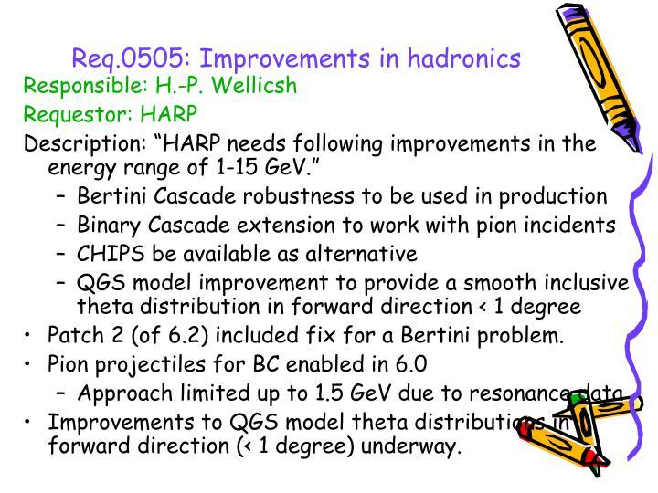 Req.0505: Improvements in hadronics