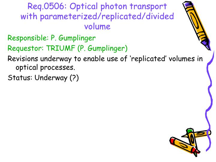 Req.0506: Optical photon transport with parameterized/replicated/divided volume