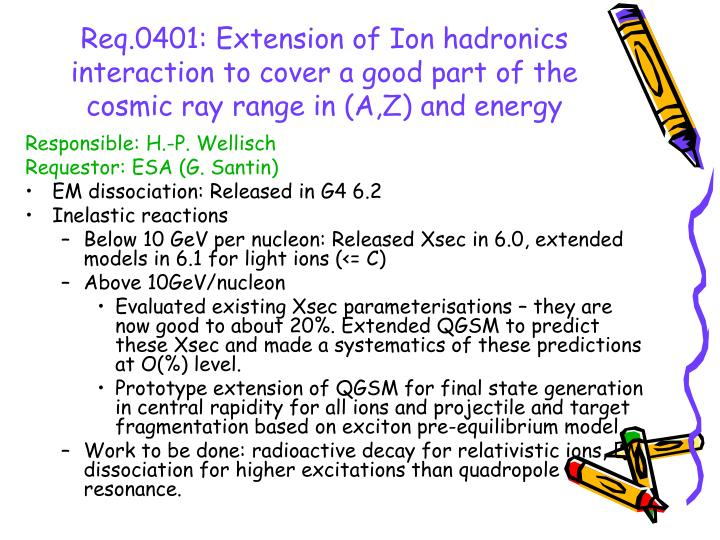Req.0401: Extension of Ion hadronics interaction to cover a good part of the cosmic ray range in (A,Z) and energy
