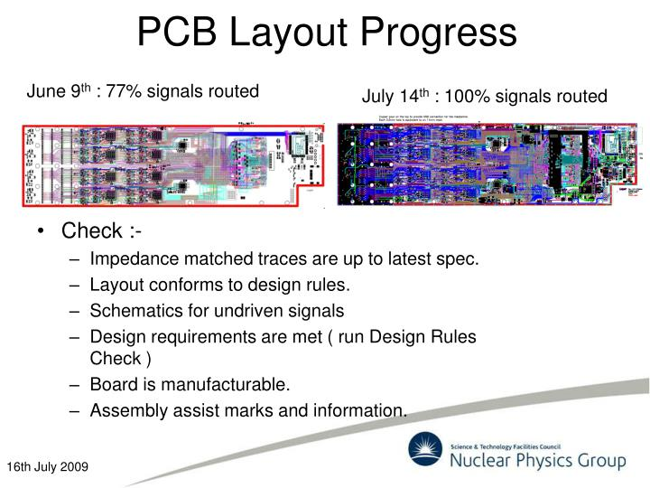 Pcb layout progress
