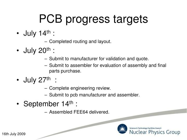 Pcb progress targets
