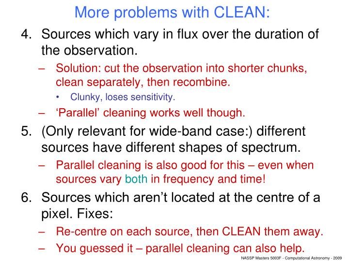 More problems with CLEAN: