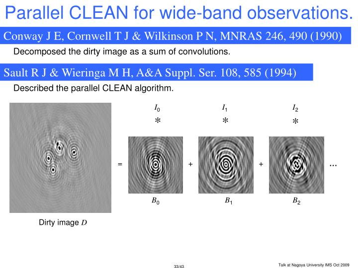 Parallel CLEAN for wide-band observations.