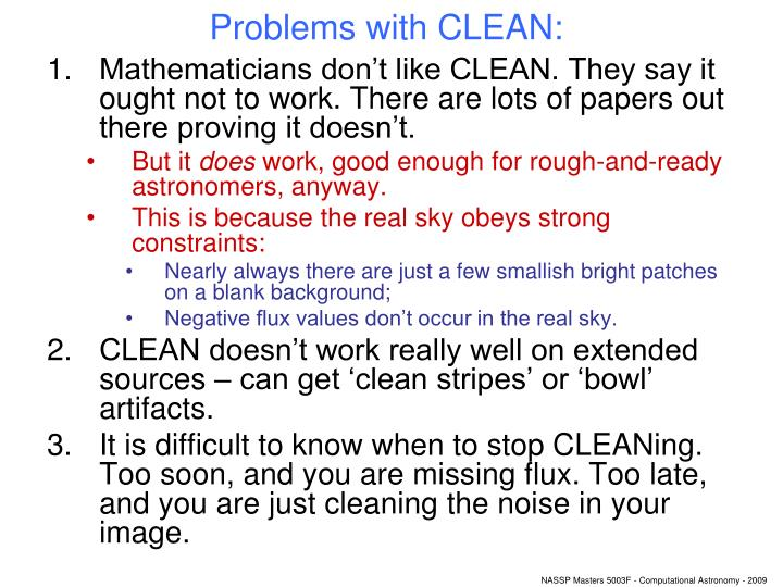 Problems with CLEAN:
