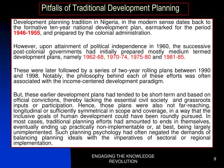 Pitfalls of Traditional Development Planning