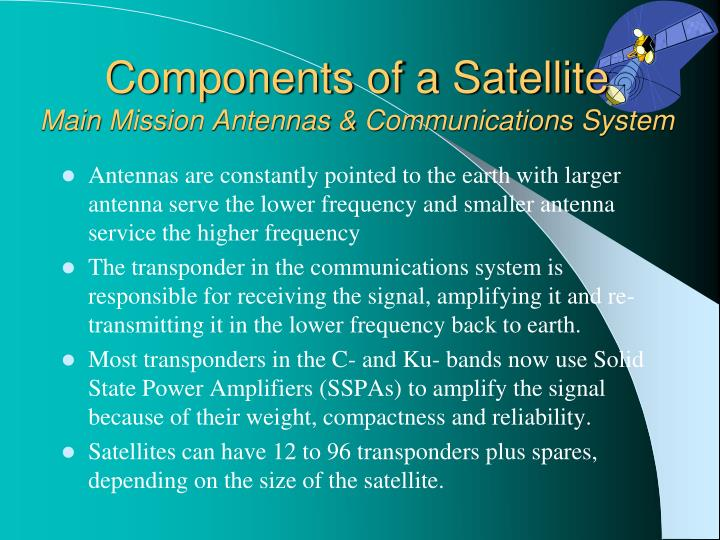 Components of a satellite main mission antennas communications system