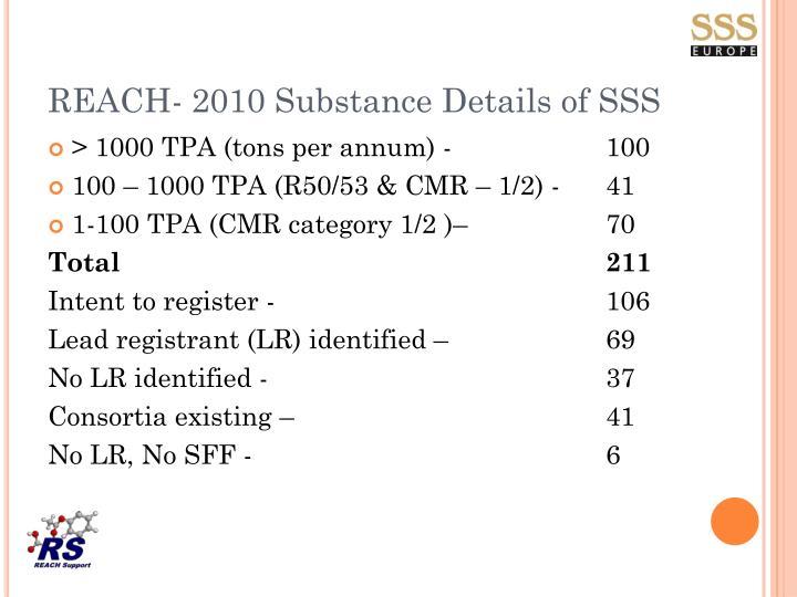 REACH- 2010 Substance Details of SSS