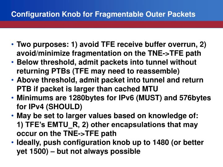 Configuration Knob for Fragmentable Outer Packets