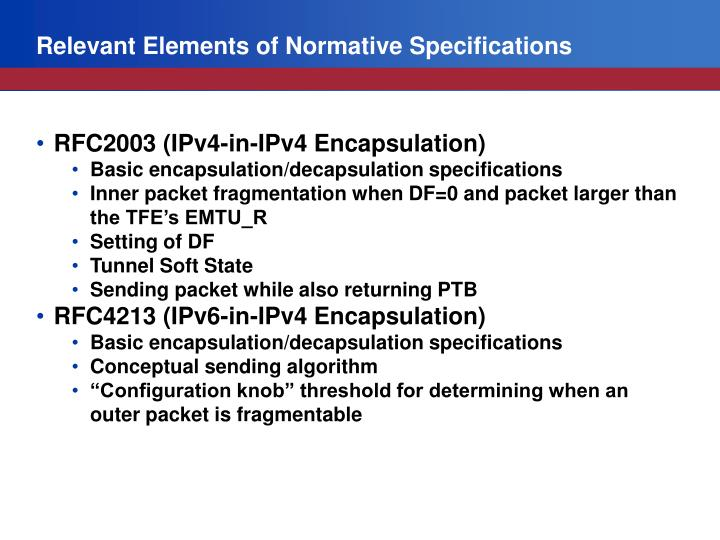 Relevant Elements of Normative Specifications