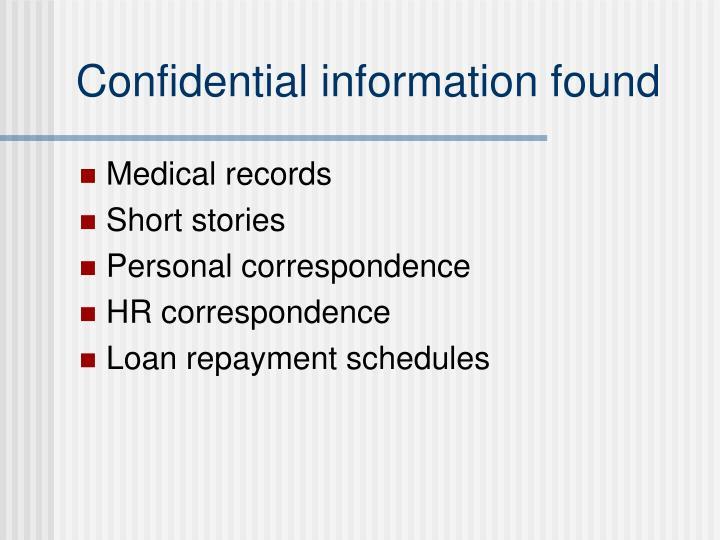 Confidential information found