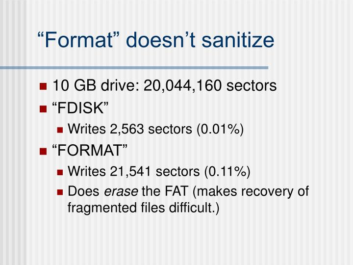 """Format"" doesn't sanitize"