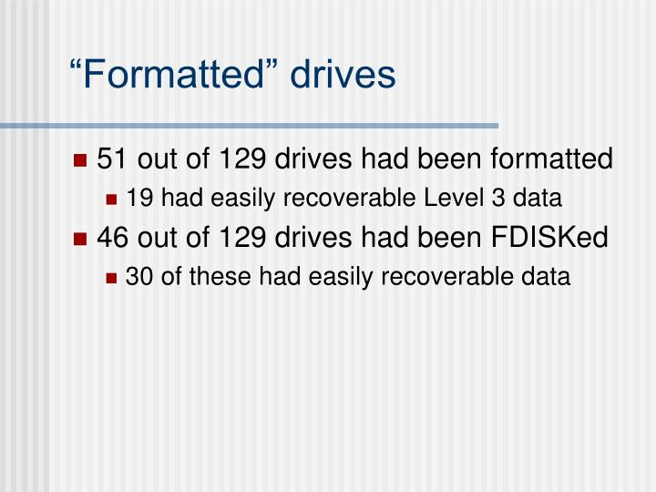 """""""Formatted"""" drives"""
