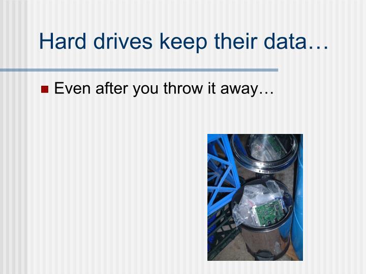 Hard drives keep their data…