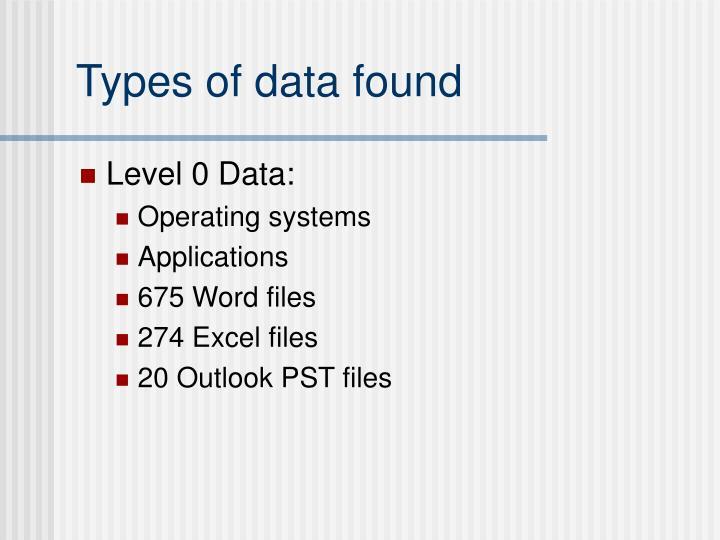 Types of data found